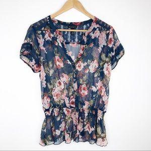🌿 Fang Sheer Floral Romantic Blouse